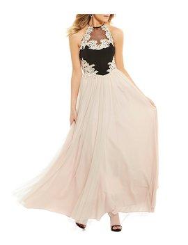 Blondie Nites Halter Neck Embroidered Applique Ball Gown by Blondie Nites