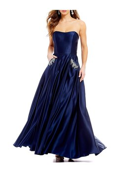 Strapless Beaded Pocket Satin Ball Gown by Blondie Nites