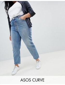 Asos Curve Recycled Florence Authentic Straight Leg Jeans In Spring Light Stone Wash by Asos Curve