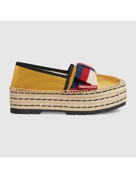Leather Espadrille With Sylvie Bow by Gucci