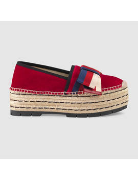 Velvet Espadrille With Sylvie Bow by Gucci