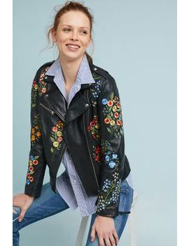 Isato Embroidered Leather Jacket by Isato