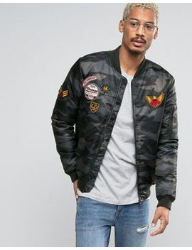 Juice Camo Bomber Jacket With Patches by Jacket