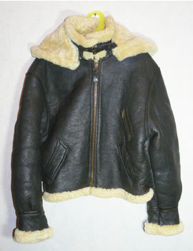 B3 Genuine Leather Aviation Shearling Fur Bomber Jacket Coat Airforce Size S by Unbranded