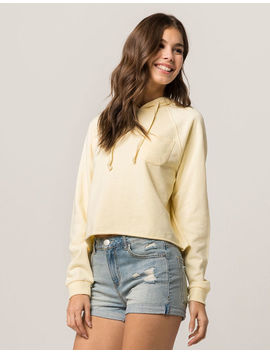 Full Tilt Light Yellow Womens Crop Hoodie by Full Tilt