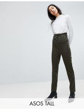 Asos Tall Stevie High Waisted Peg Trousers With Extra Long Belt In Khaki by Asos Tall