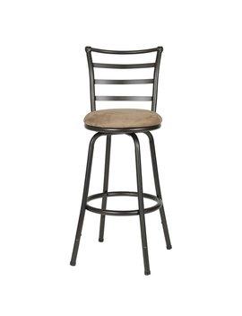 Roundhill Furniture Round Seat Bar/Counter Height Adjustable Metal Bar Stool, Metallic by Roundhill