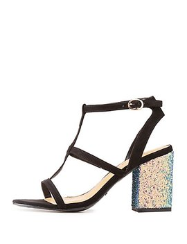 Bamboo Glitter Trim Caged Sandals by Charlotte Russe