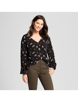 Women's Floral Long Sleeve Button Down Blouse   A New Day™ Black by A New Day™
