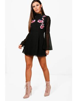 Petite Emily Embroidered Flare Sleeve Skater Dress by Boohoo