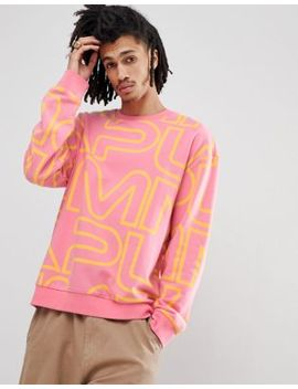 Puma Crew Neck Sweatshirt With All Over Print In Pink Exclusive To Asos by Puma