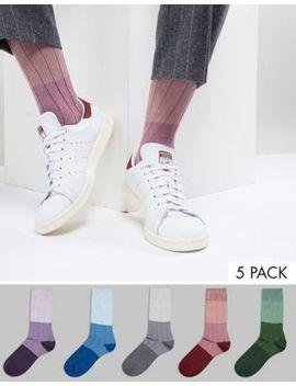 Asos Design Socks In Tricolour Tonal Rib 5 Pack by Asos Design