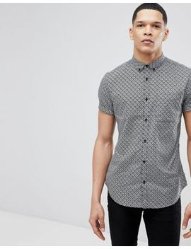 River Island Shirt With Tile Print In Gray by River Island