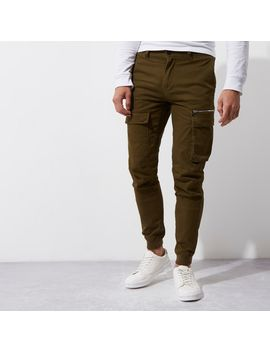 Dark Khaki Green Skinny Fit Cargo Pants  Dark Khaki Green Skinny Fit Cargo Pants by River Island