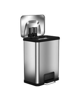 Halo Air Step 13 Gallon Kitchen Trash Can – Stainless Steel Step Trash Can With Deodorizer – Replaceable Air Damper   Silent And Gentle Lid Close by Halo