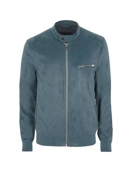 Blue Faux Suede Racer Neck Jacket                                  Blue Faux Suede Racer Neck Jacket by River Island