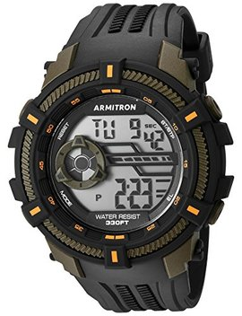Armitron Sport Men's 40/8384 Ogn Olive Green Accented Digital Chronograph Black Resin Strap Watch by Armitron