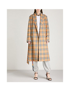 Checked Wool Trench Coat by Burberry