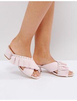 Raid Loren Pink Studded Ruffle Heeled Sandals by Raid