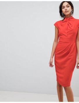 Asos Twist Neck Keyhole Midi Dress by Asos Collection