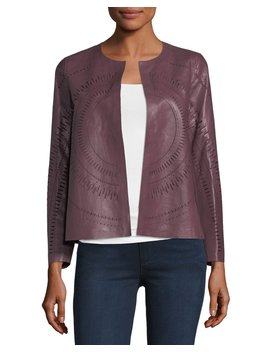 Callia Laser Cut Lambskin Topper Jacket by Lafayette 148 New York