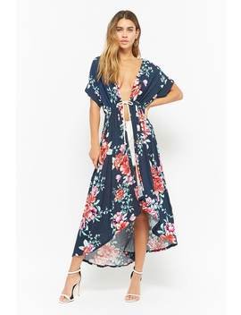 Floral Print High Low Kimono by Forever 21