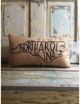 Pillow Cover | State Pillow | City Pillow | North Carolina Pillow | Burlap Pillow | Gift For Him | Gift For Her | State Throw by Etsy