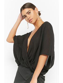 Gauze Plunging Surplice Top by Forever 21