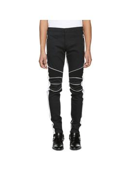 Black & White Slim Biker Jeans by Balmain