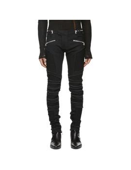 Black Distressed Slim Jeans by Balmain