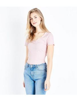 Pink Ribbed Ruched Front Frill Edge T Shirt by New Look