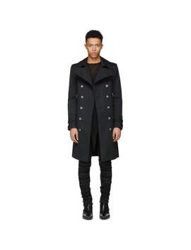 Black Long Double Breasted Coat by Balmain