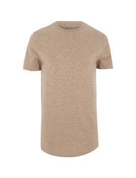 Light Brown Curved Hem T Shirt                                  Light Brown Curved Hem T Shirt by River Island