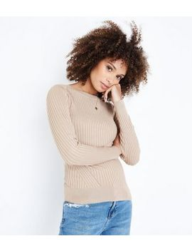 Camel Panelled Rib Jumper by New Look
