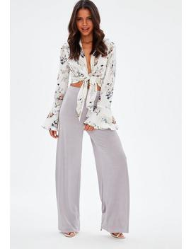 High Waist Marlenehose In Lila by Missguided