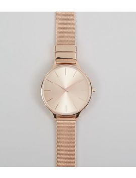 Rose Gold Mesh Strap Watch by New Look