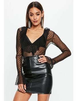 Black Dobby Spot Mesh Ruffle Fringe Bodysuit by Missguided