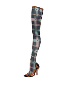 Runway Over The Knee Plaid Mesh Boot by Fendi