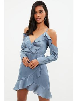 Blue Dobby Satin Cold Shoulder Shift Dress by Missguided