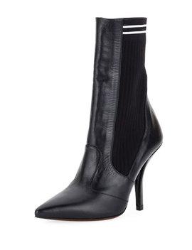 Polished 105mm Sock Bootie, Black by Fendi