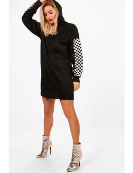 Emma Check Sleeve Hooded Sweat Dress by Boohoo