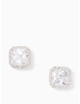 Save The Date Pave Princess Cut Studs by Kate Spade