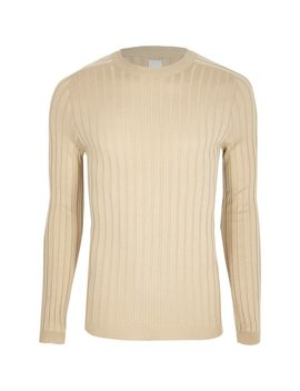 Stone Rib Muscle Fit Crew Neck Jumper                                  Stone Rib Muscle Fit Crew Neck Jumper by River Island