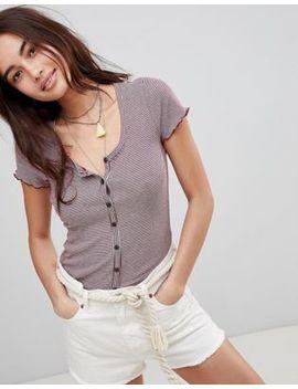 Hollister Button Thru Scallop Hem Slim T Shirt by Hollister