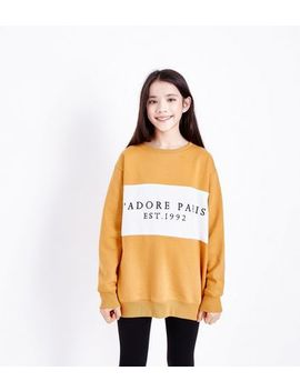 Teens Yellow J'adore Paris Longline Sweatshirt by New Look