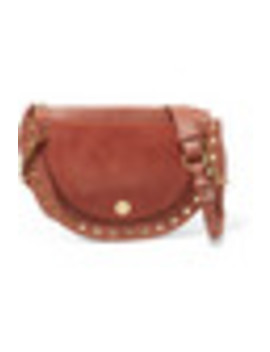 Kriss Small Eyelet Embellished Textured Leather And Suede Shoulder Bag by See By Chloé