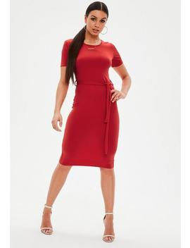 Red Short Sleeve Tie Waist Midi Dress by Missguided
