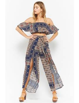 Ornate Print Flounce Crop Top & High Waisted Pants Set by Forever 21