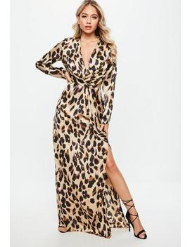 Gold Leopard Print Wrap Front Shift Maxi Dress by Missguided