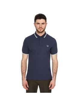 Fred Perry   Dark Blue Tipped Embroidered Logo Polo Shirt by Fred Perry